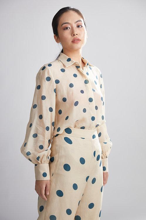 Cream And Teal Polka Dot Shirt