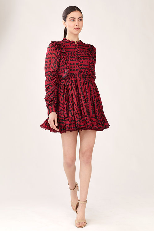 Red And Black Abstract Print Frill Short Dress