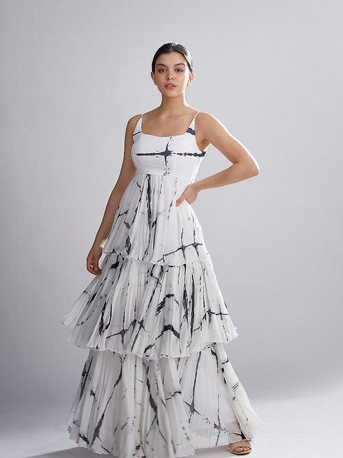 White And Black Shibori Layered Dress