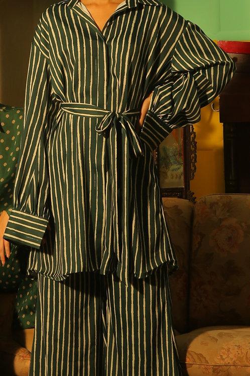 Dark Green And White Stripe Pants