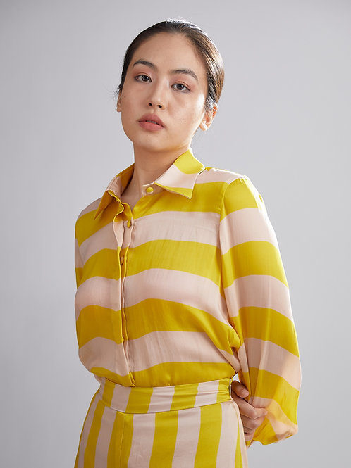 Pink And Mustard Stripe Shirt