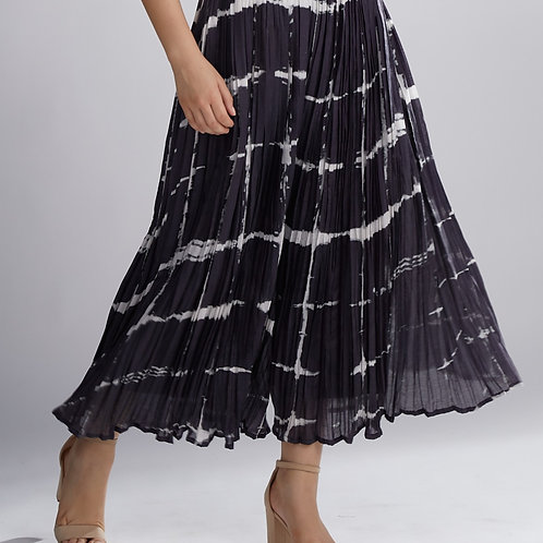 Black And White Shibori Pleated Skirt