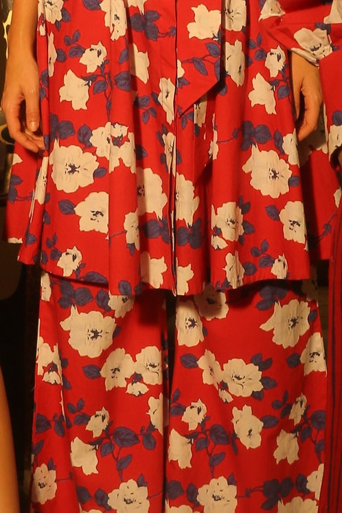 Red, Blue And White Floral Pants