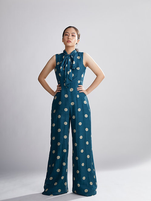 Teal And Cream Polka Dot Jumpsuit