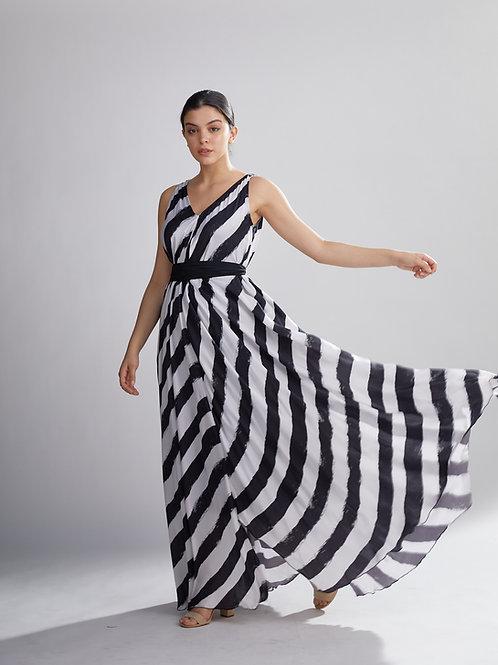 White And Black Stripe Long Dress