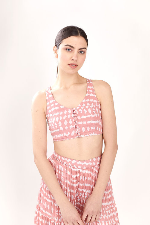 Pink And White Abstract Bustier