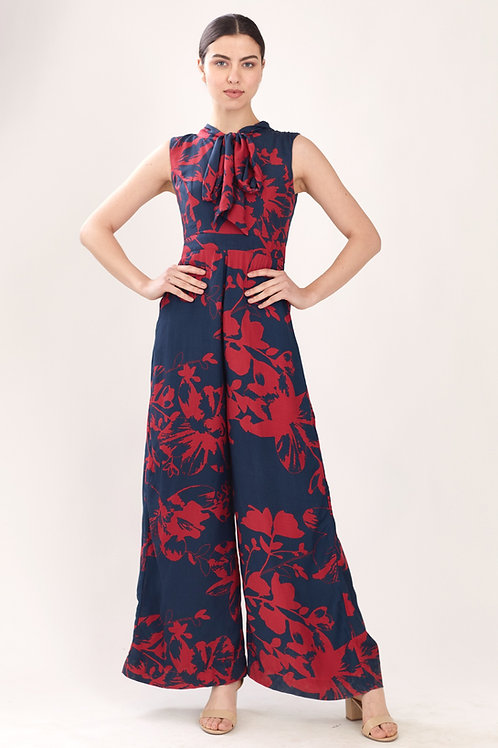 Blue And Red Floral Jumpsuit
