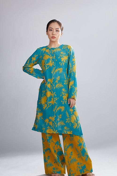 Blue And Mustard Floral Kurta