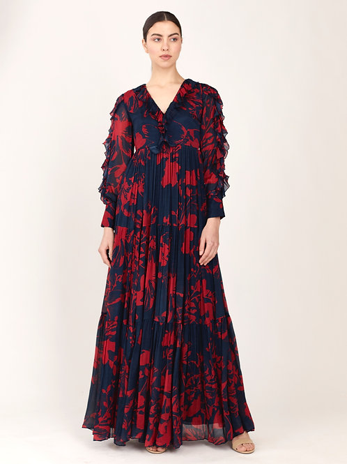 Blue And Red Floral Long Dress