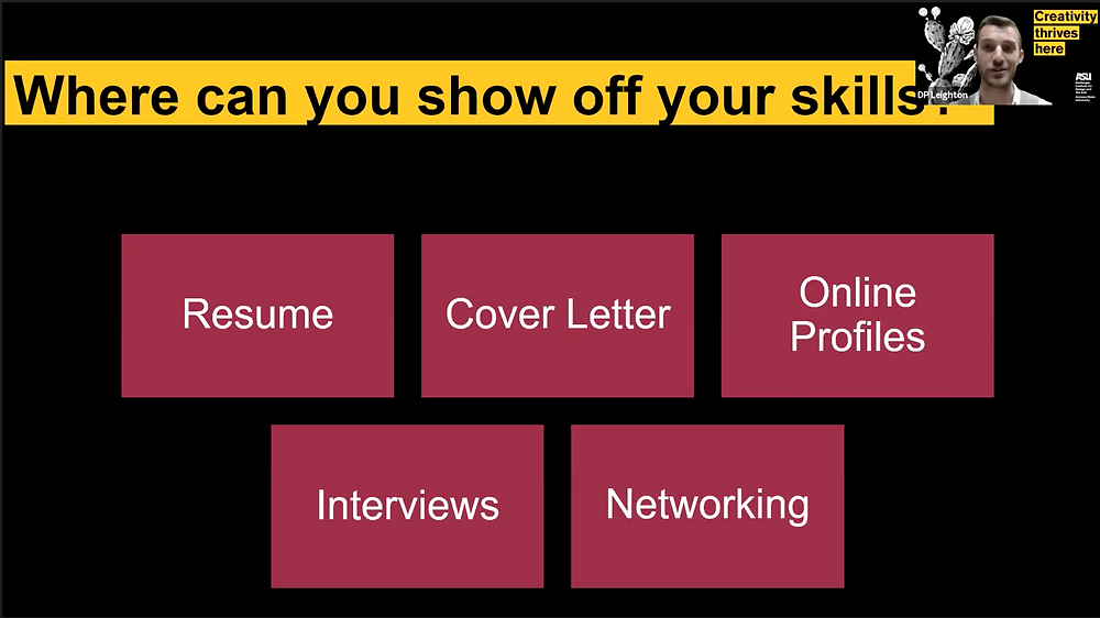 Show your skills off on your resume, cover letter, online profile, during interviews and when networking.