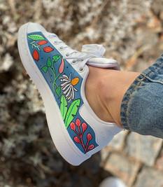 Custom sneakers - Blomsterdröm blå insida