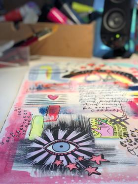 Akryltavla på papper Reach for the stars öga och hand