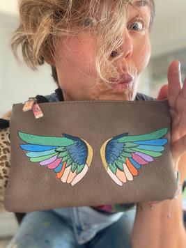 Handmålad personlig väska - Angel wings