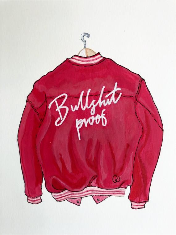 Akryltavla på papper Bullshit proof jacket