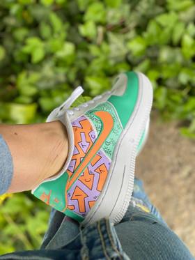 Custom sneakers - like what you do lila/orange