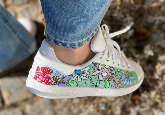 Custom sneakers - Blomsterdröm grön utsida
