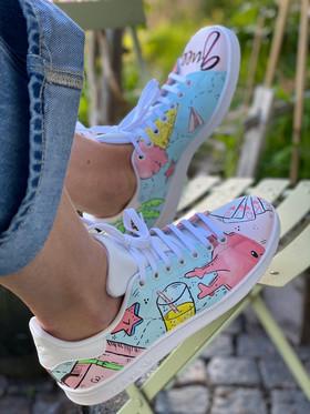 Custom sneakers - För evigt brudens profil blå