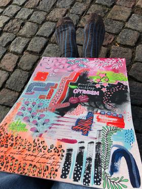 Akryltavla på papper Practise reckless optimism fötter
