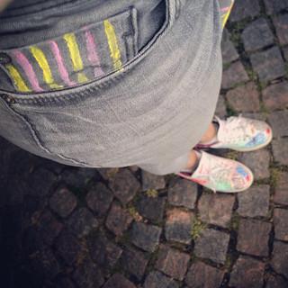 Jeans randig ficka