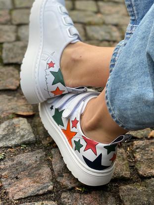 Custom sneakers - Alice the daschund  stars
