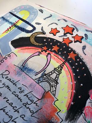 Akryltavla på papper Reach for the stars Eiffeltornet