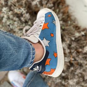 Custom sneaker - New York orangea stjärnor