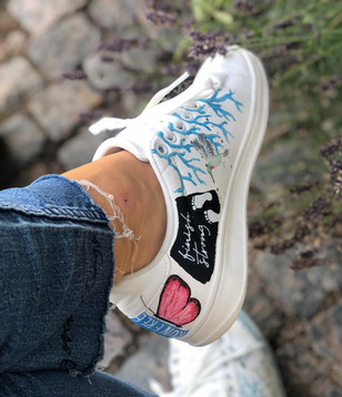 Custom sneakers - Branches and butterflies - rosa fjäril häl