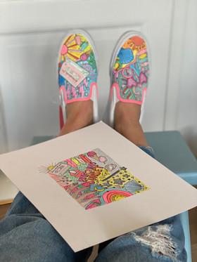 Custom sneaker - Good vibes only med målning