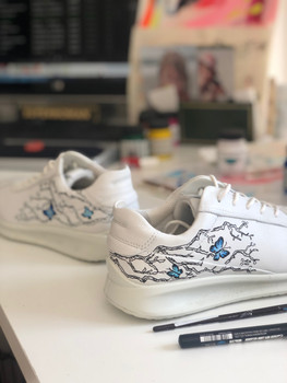 Custom sneakers Chinoiserie - blå fjärilar
