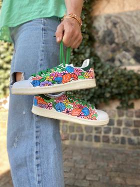 Custom sneakers - Shell & flower bonanza hålla linne