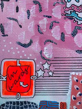 Akryltavla på papper Practise reckless optimism Look inwards
