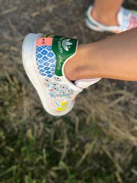 Custom sneaker Leaf mania Ikat blå