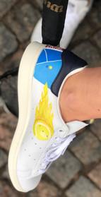Custom sneakers Serve it smash it win it ball on fire