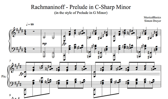 Rach Prelude in C#m in the Style of Gm