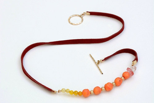 Peach leather necklace