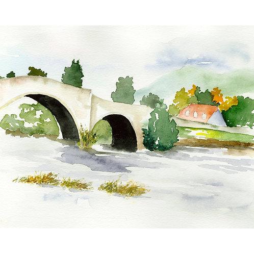 The Bridge. Watercolor Print