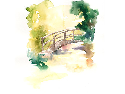 The Bridge. Watercolor Original.