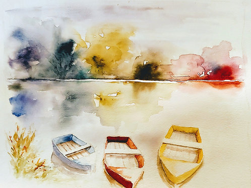 The Boats. Watercolor Print.