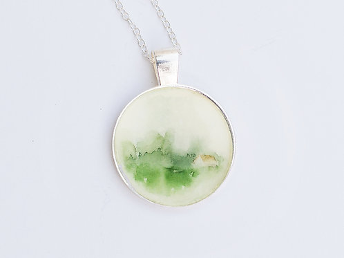 Handmade watercolor painted Pendent. Field and a House.