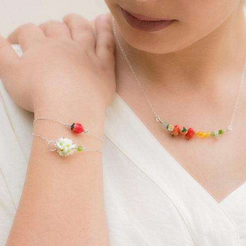 Strawberry double silver bracelet