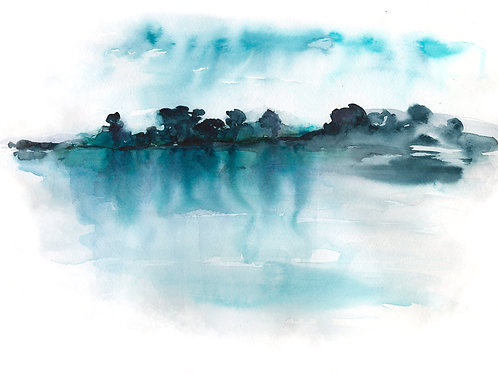 Blue Reflection. Watercolor Print.