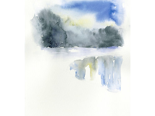 Frozen Lake. Watercolor Print.