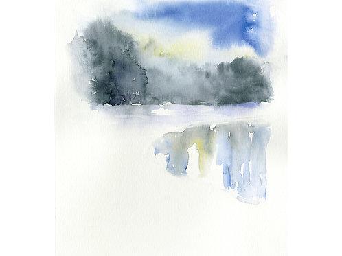 Frozen Lake. Watercolor Print.