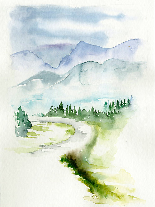 The road to the mountains. Watercolor Print.