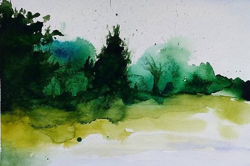 The forest by the lake. Watercolor Print.