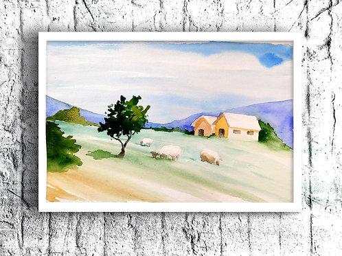 Landscape. Watercolor Print.
