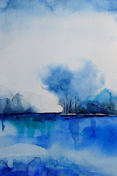 Lake. Watercolor Print.