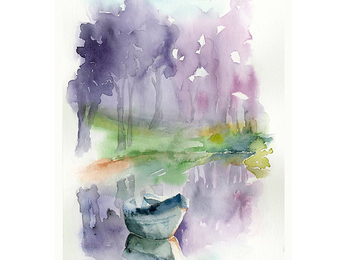 Boat on a lake. Watercolor Print.