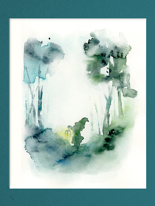 Watercolor Kids Print. Midget in the Forest.