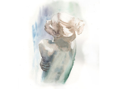 Embracing myself. Watercolor Print.